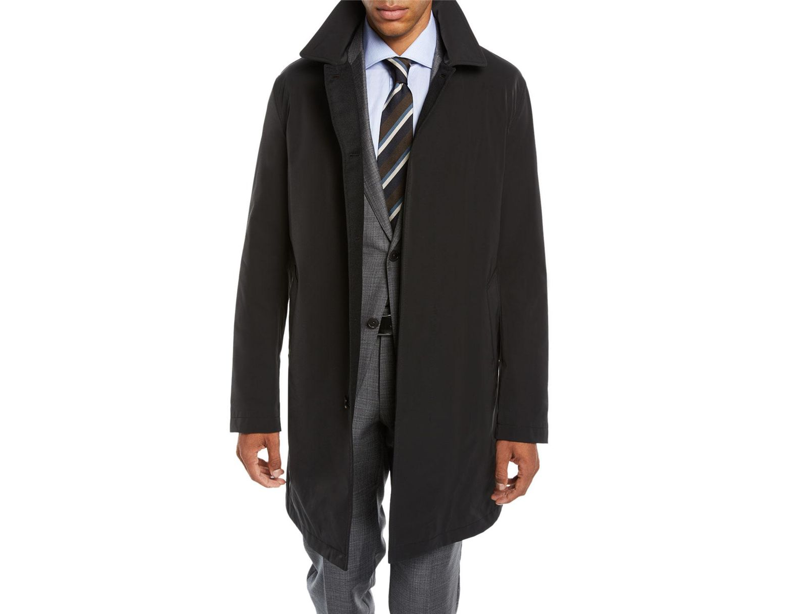 36f55813 Ermenegildo Zegna Men's Reversible Car Coat in Black for Men - Lyst