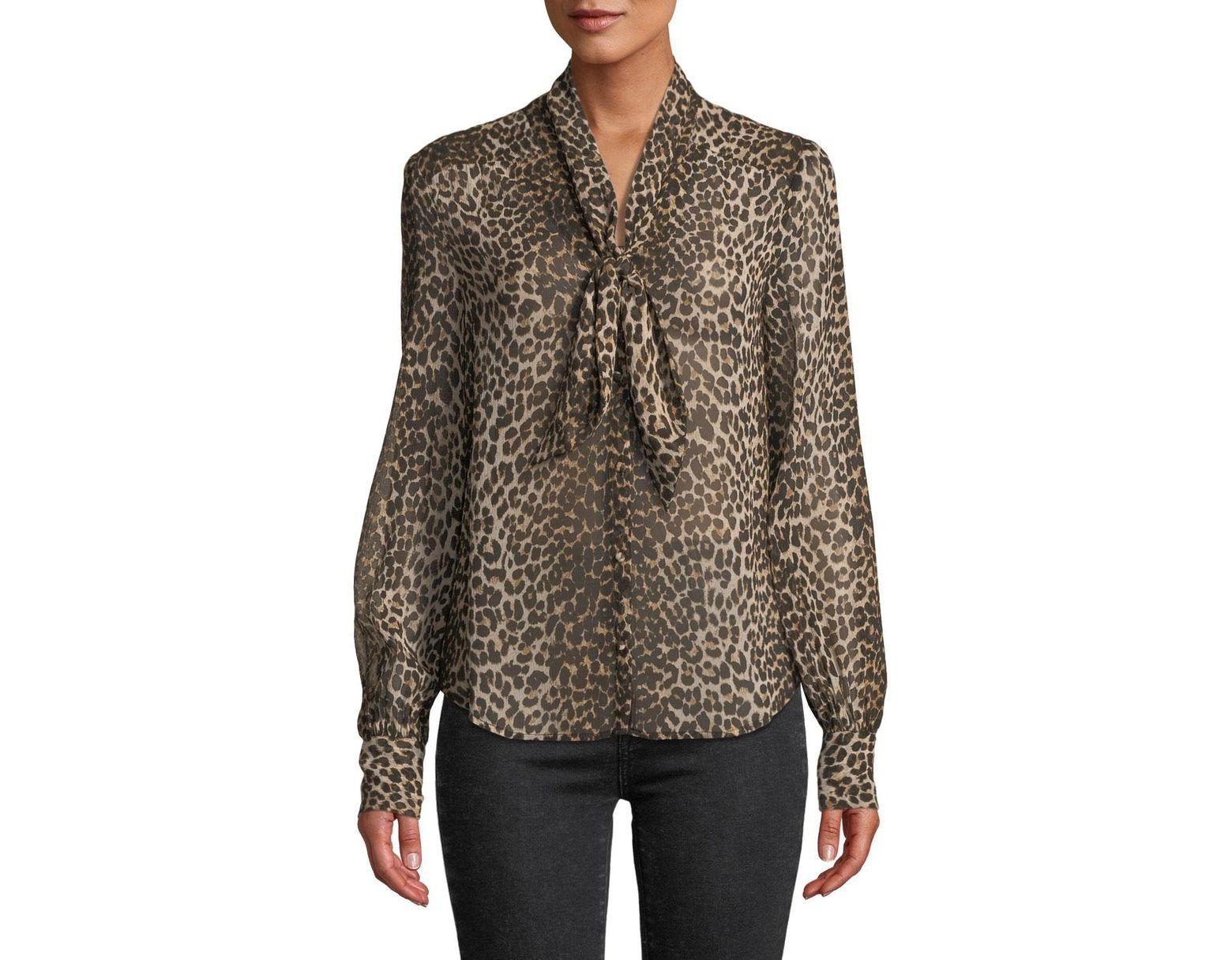 3dc69ca9107c5e PAIGE Cleobelle Leopard-print Tie-neck Blouse in Brown - Lyst