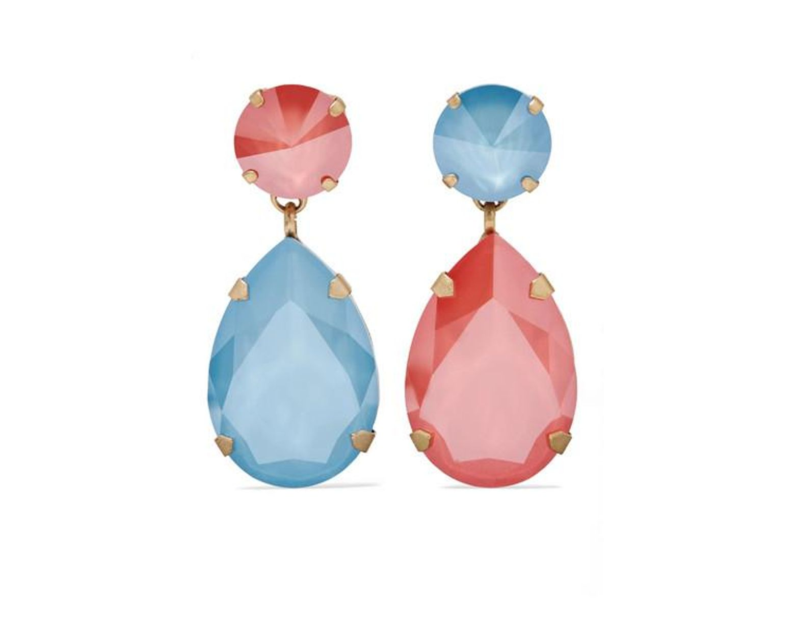 3245f116e12de Women's Blue Hip Hop But Not Gold-tone Swarovski Crystal Clip Earrings