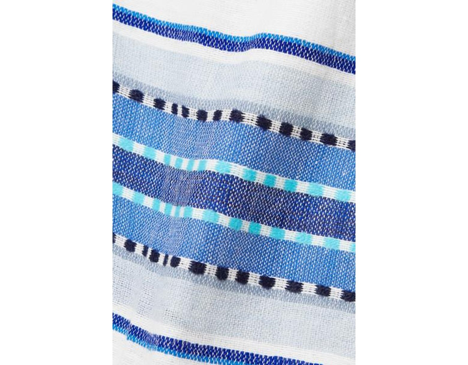 Women S Blue Net Sustain Welela Fringed Striped Cotton Blend Gauze Shorts