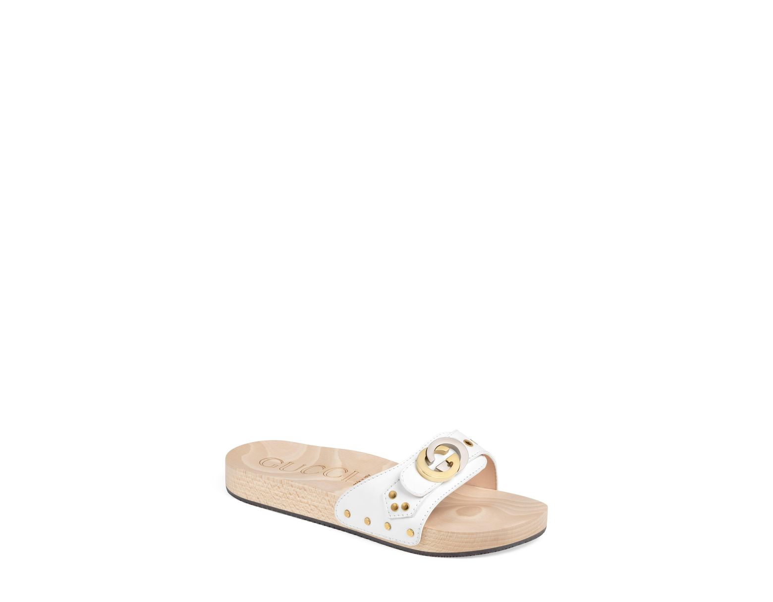 Women's Slide Interlocking White Shiner Sandal G L4jAR5