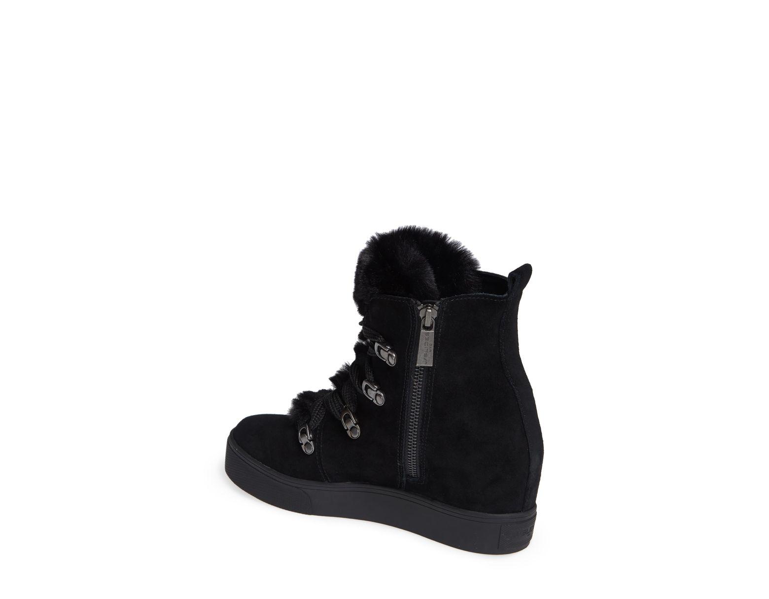 b93dcc3f933 Women's Black Whitney Faux Fur Trim High Top Sneaker