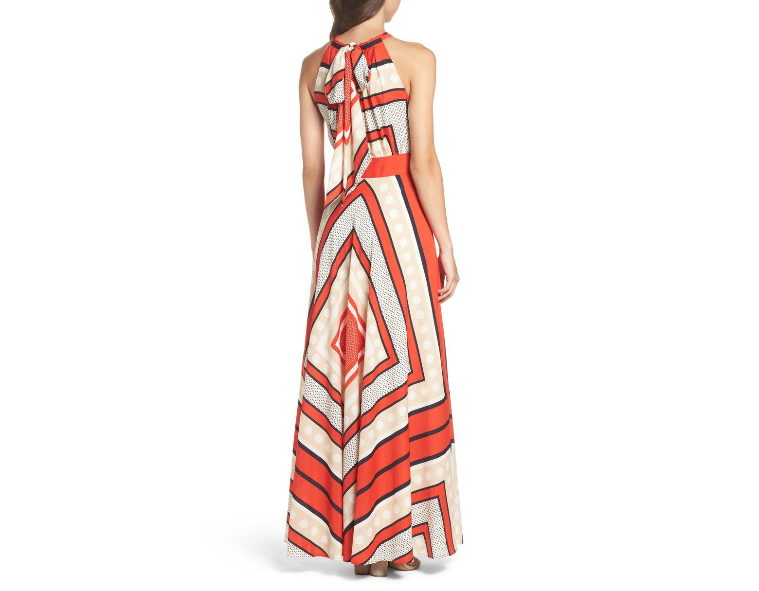 897c31ec316e5 Women's Red Halter Tie Printed Maxi Dress