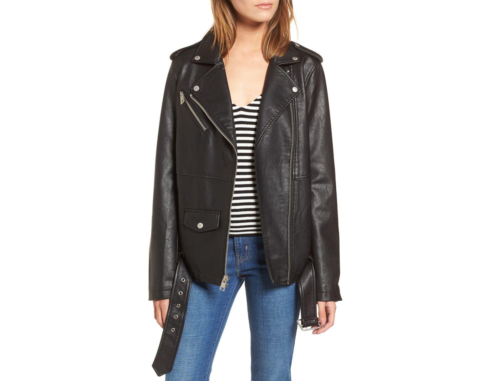 a35452321 Women's Black Oversize Faux Leather Moto Jacket