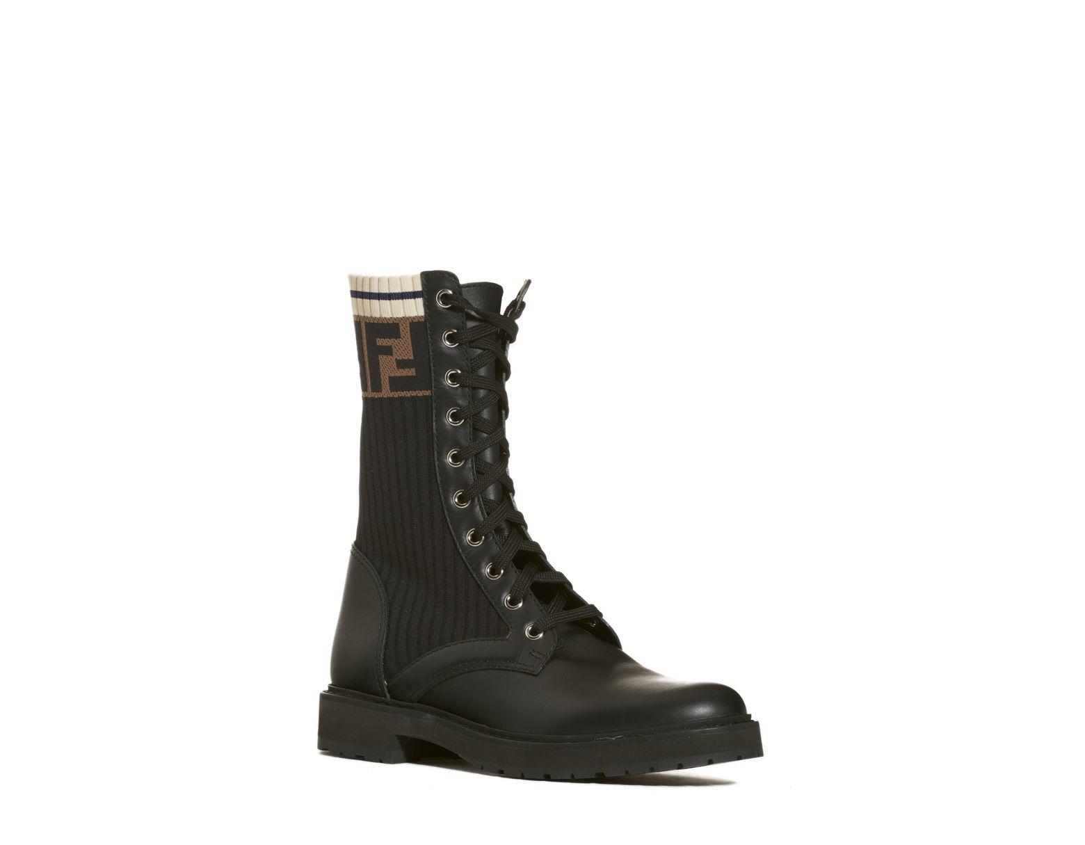 21012c9932338 Fendi Rockoko Chelsea Sock Combat Boot in Black - Lyst