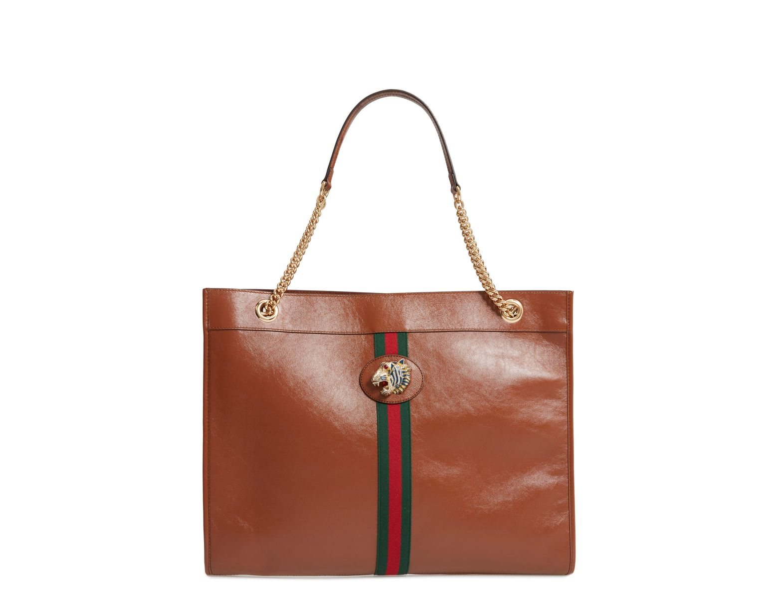 d15954f24cef Gucci Large Linea Rajah Leather Tote in Brown - Lyst