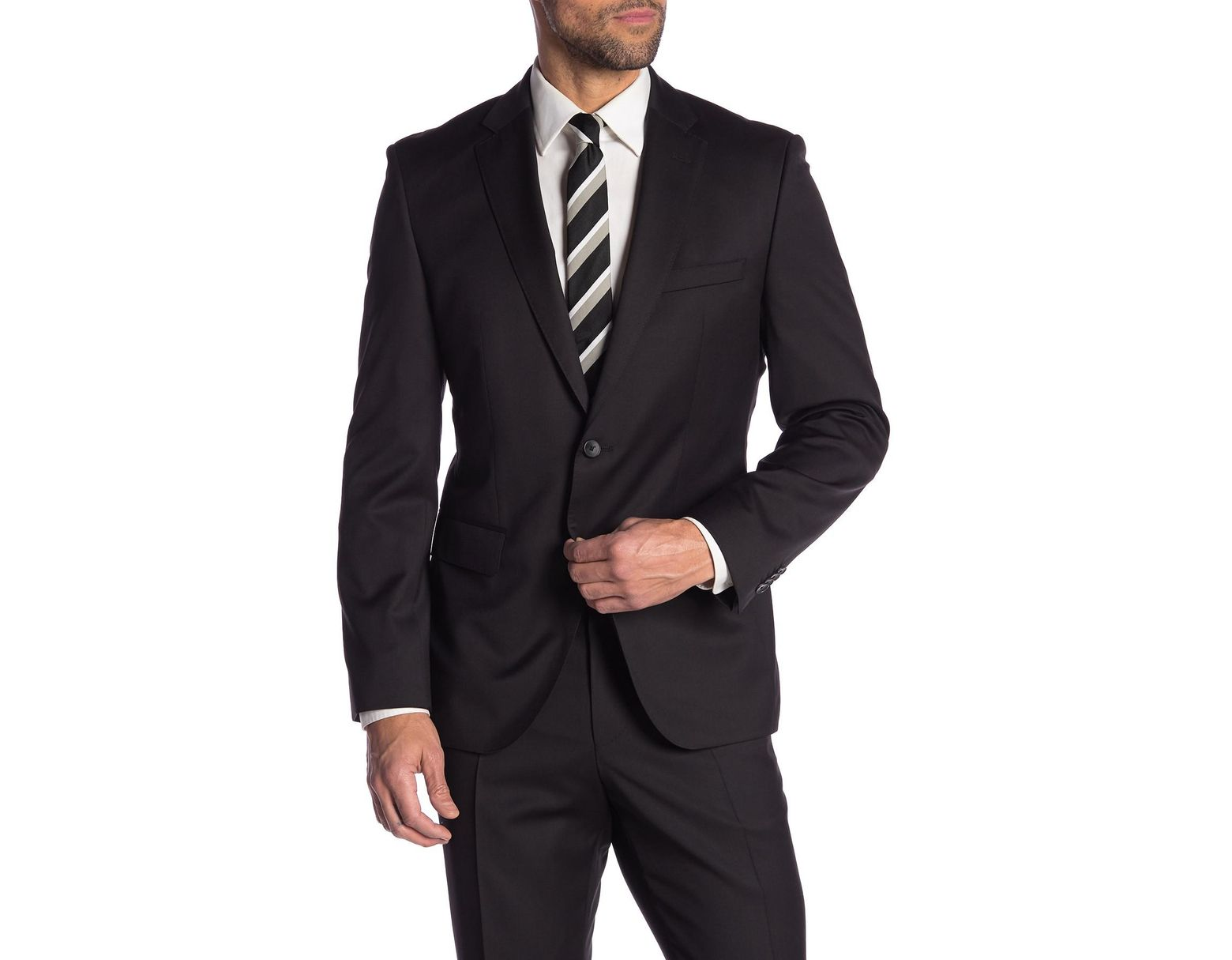 607bb9a3ddf BOSS Johnstons Black Solid Two Button Notch Lapel Wool Suit Separates Jacket  in Black for Men - Lyst
