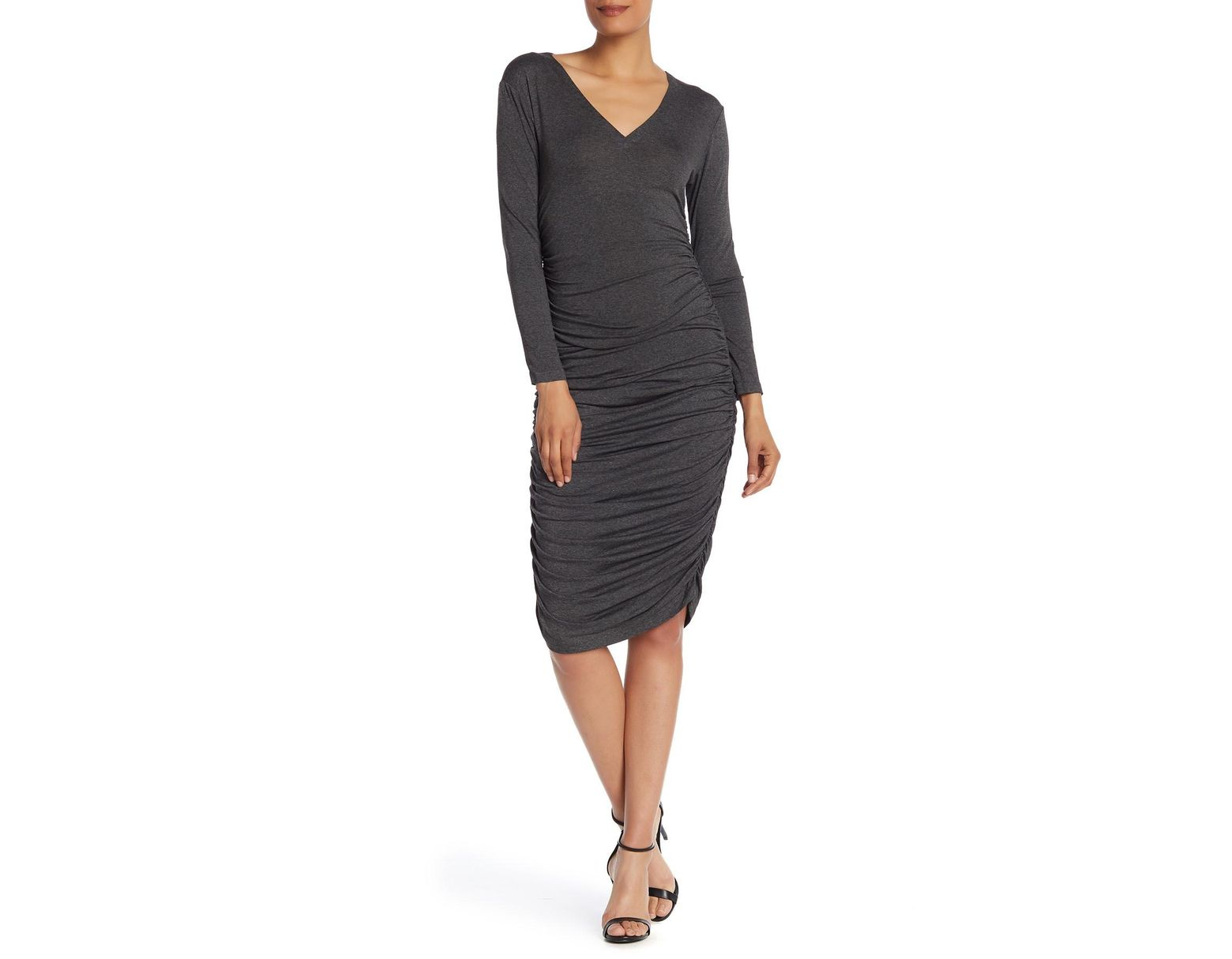 136cd293fa0 Norma Kamali V-neck Shirred Long Sleeve Dress in Gray - Save 64% - Lyst