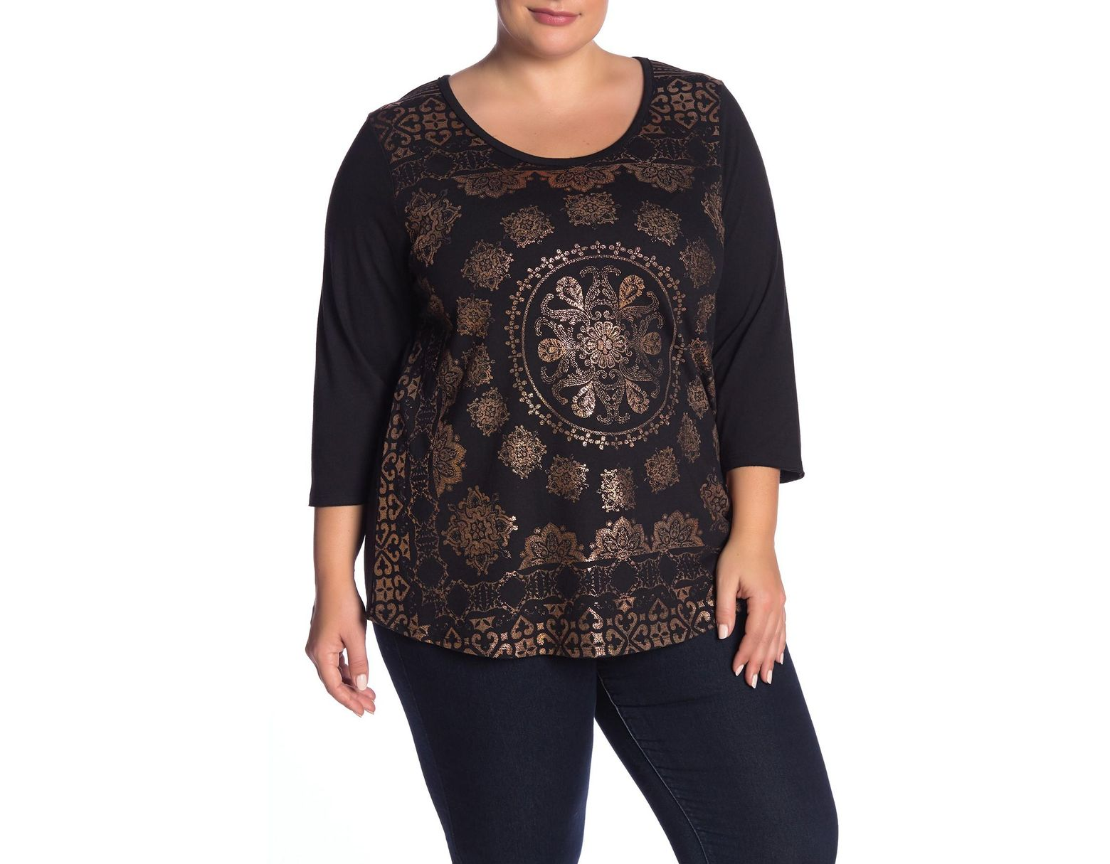 Lucky Brand Womens Scoop Neck Three-Quarter-Sleeve Graphic T-Shirt $39
