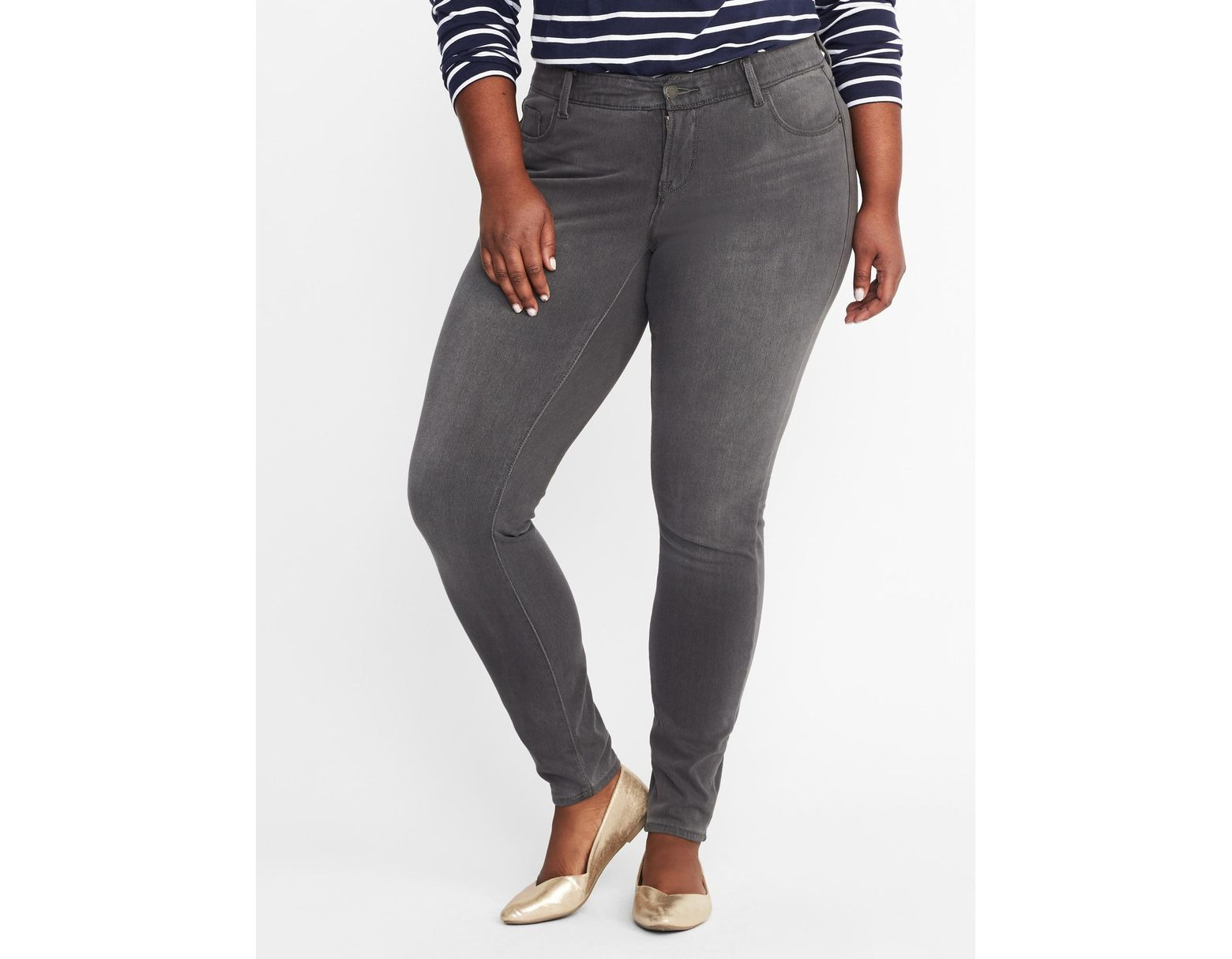 f4570c0b843316 Old Navy High-rise Secret-slim Pockets + Waistband Plus-size Rockstar 24/7  Jeans in Gray - Lyst