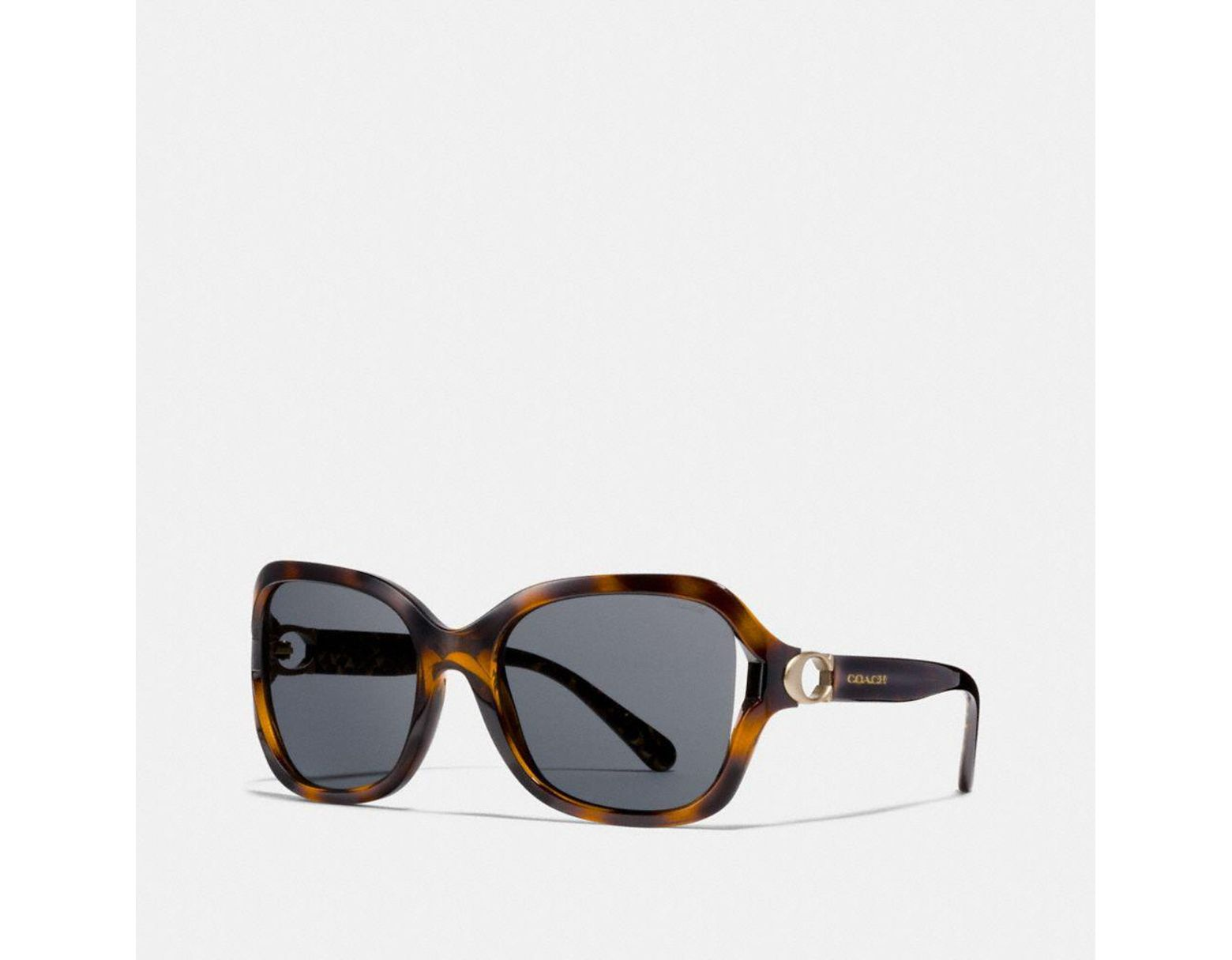 a3b85bc82784 COACH Signature Hardware Rectangle Sunglasses in Brown - Lyst