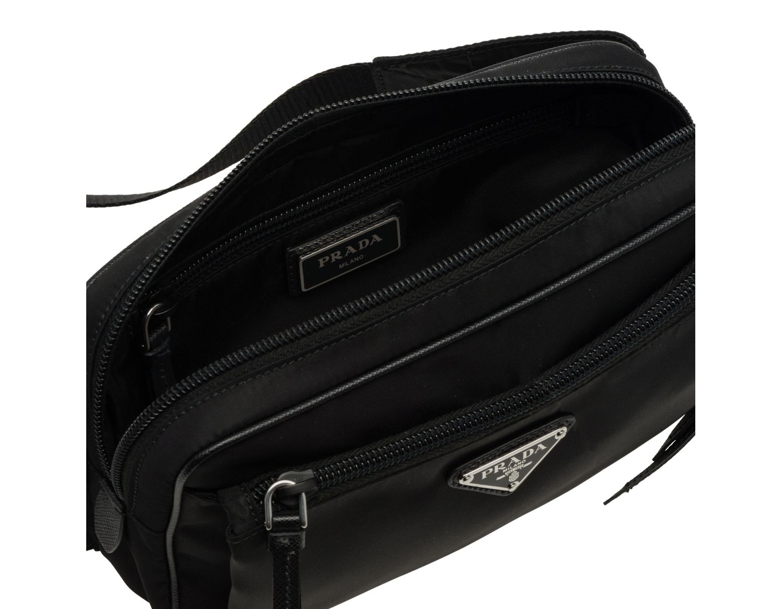 8bf015d931cc Prada Nylon And Leather Belt Bag in Black - Lyst