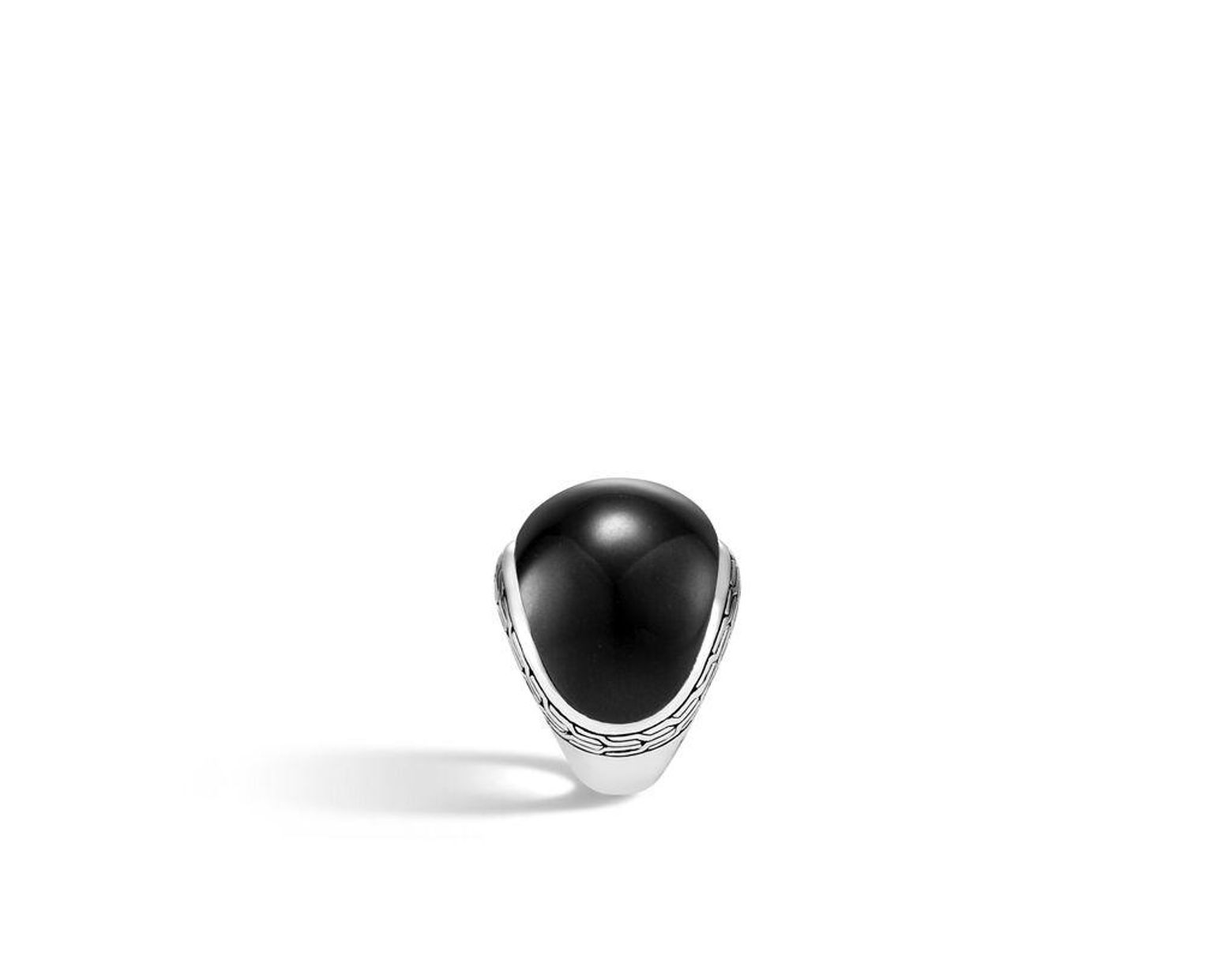 d009c1bb9be6c Women's Classic Chain Dome Ring With Black Jade