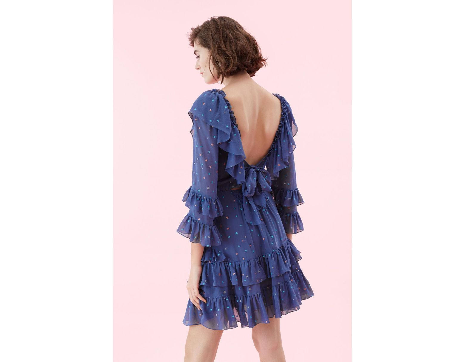 bb9e82970595 Rebecca Taylor Glitter Gem Chiffon Ruffle Dress in Blue - Save 35% - Lyst