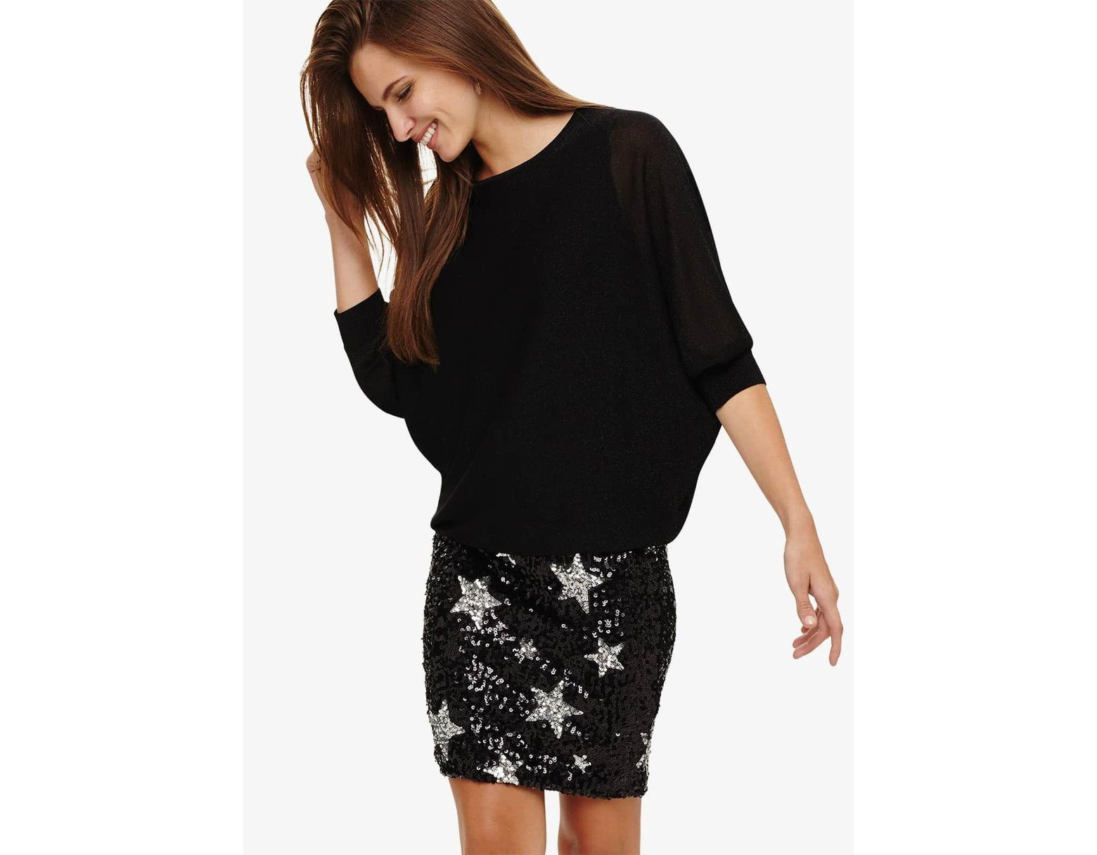 e53006b2 Phase Eight Geonna Star Sequin Knitted Dress in Black - Lyst