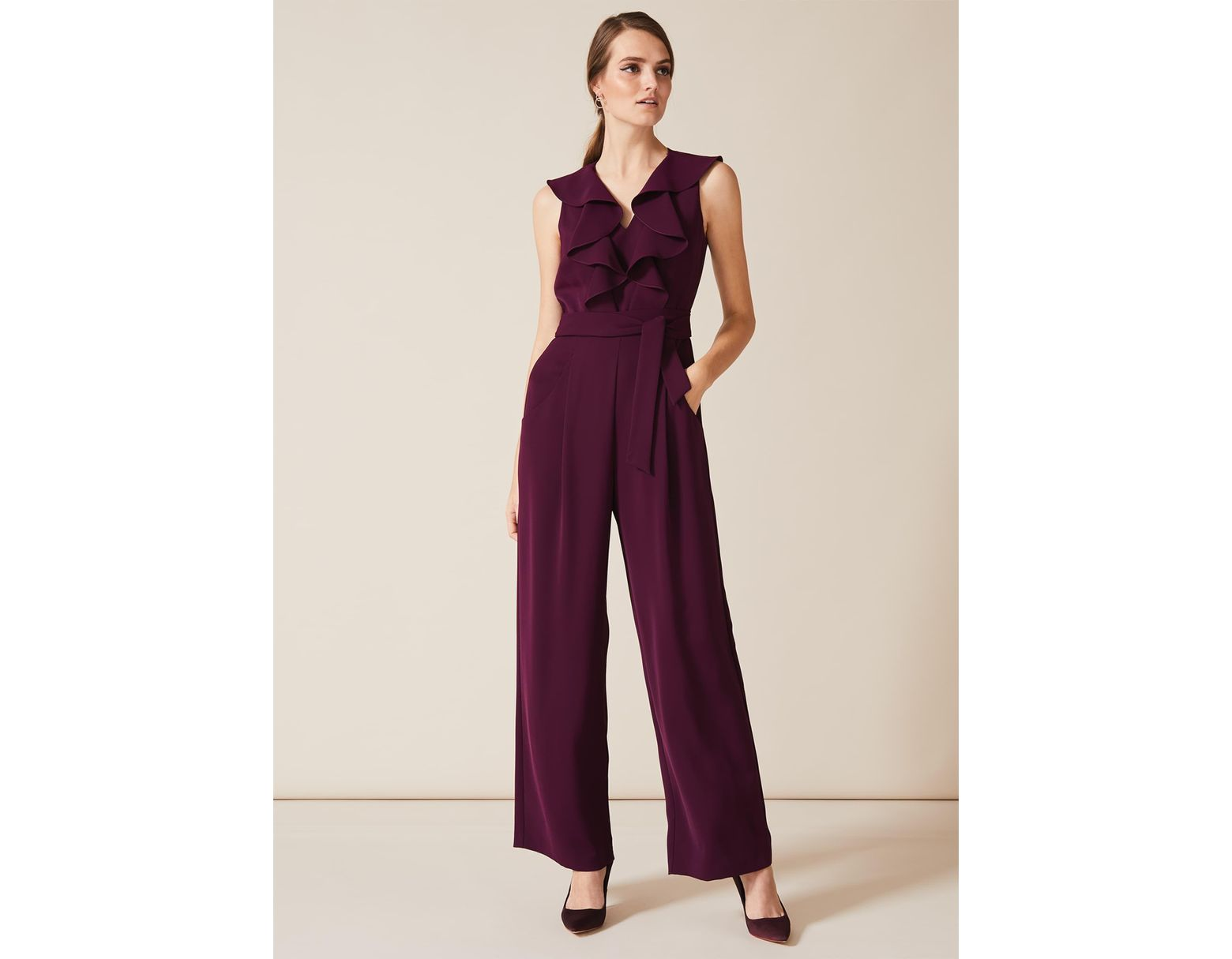 wholesale sales popular brand order online Phase Eight Linda Frill Wrap Jumpsuit in Purple - Lyst