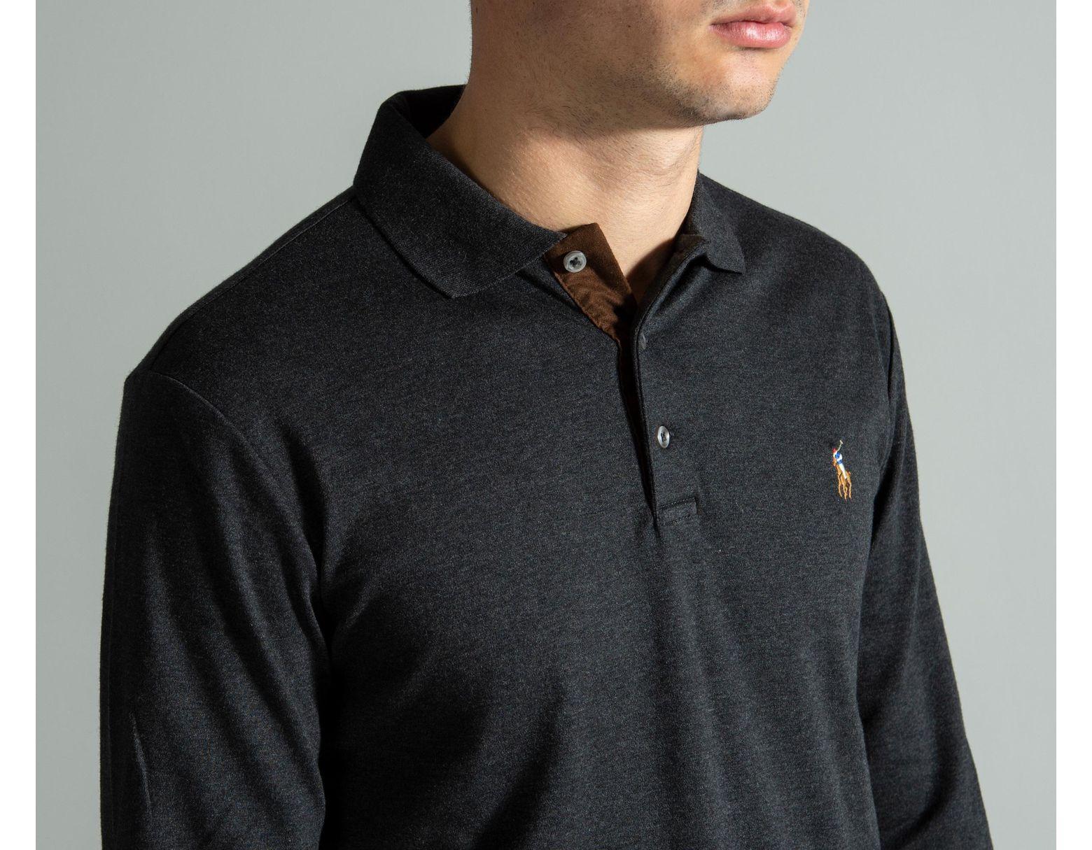 9ebace8c Polo Ralph Lauren Slim Fit Long Sleeved Polo Granite in Black for ...