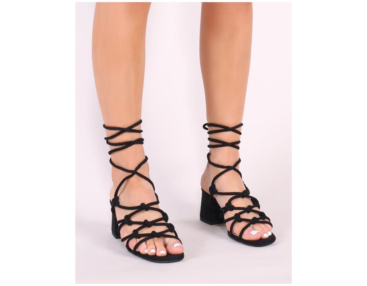 aaeff446d0d Women's Freya Knotted Strappy Block Heeled Sandals In Black Faux Suede
