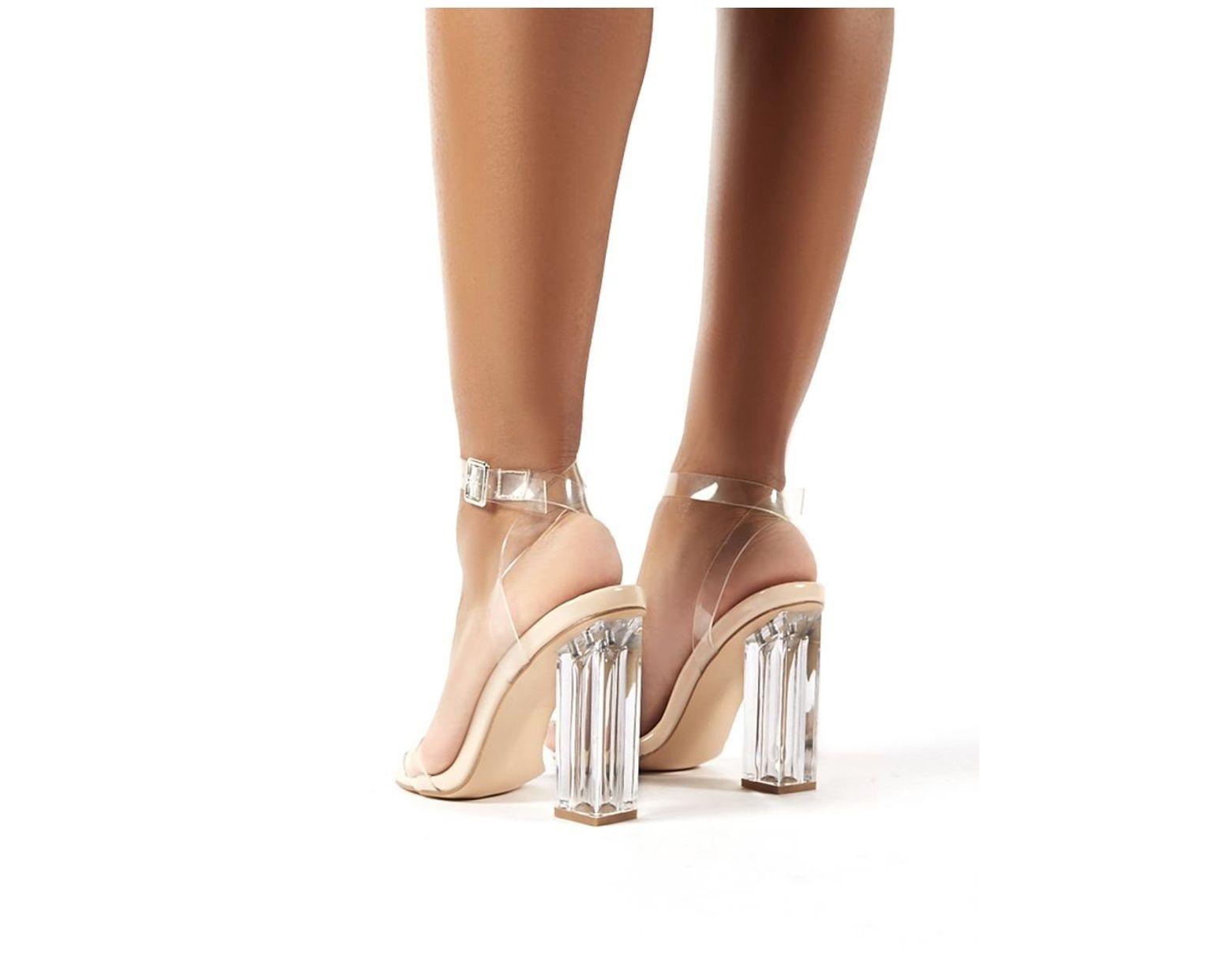 5759c001bdb Women's Blue Alia Strappy Perspex High Heels In Clear Nude