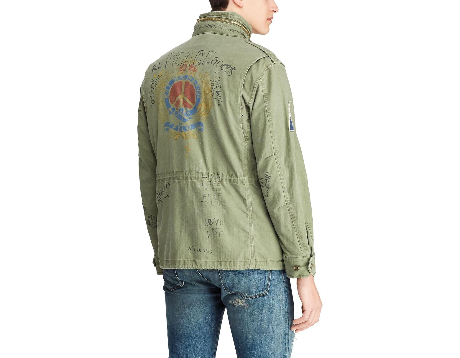 2f597e41d Men's Green Twill Graphic Field Jacket