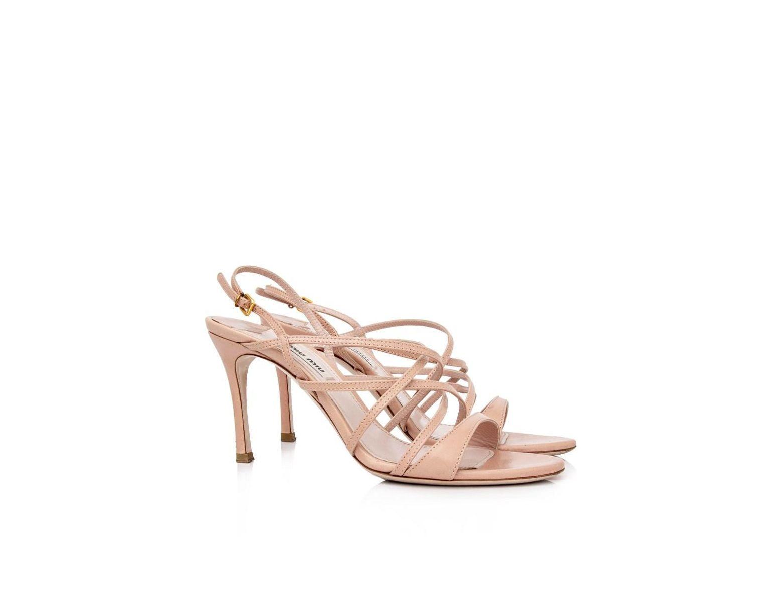Miu Miu Pink Satin Jewel Embellished High Heel Sandals