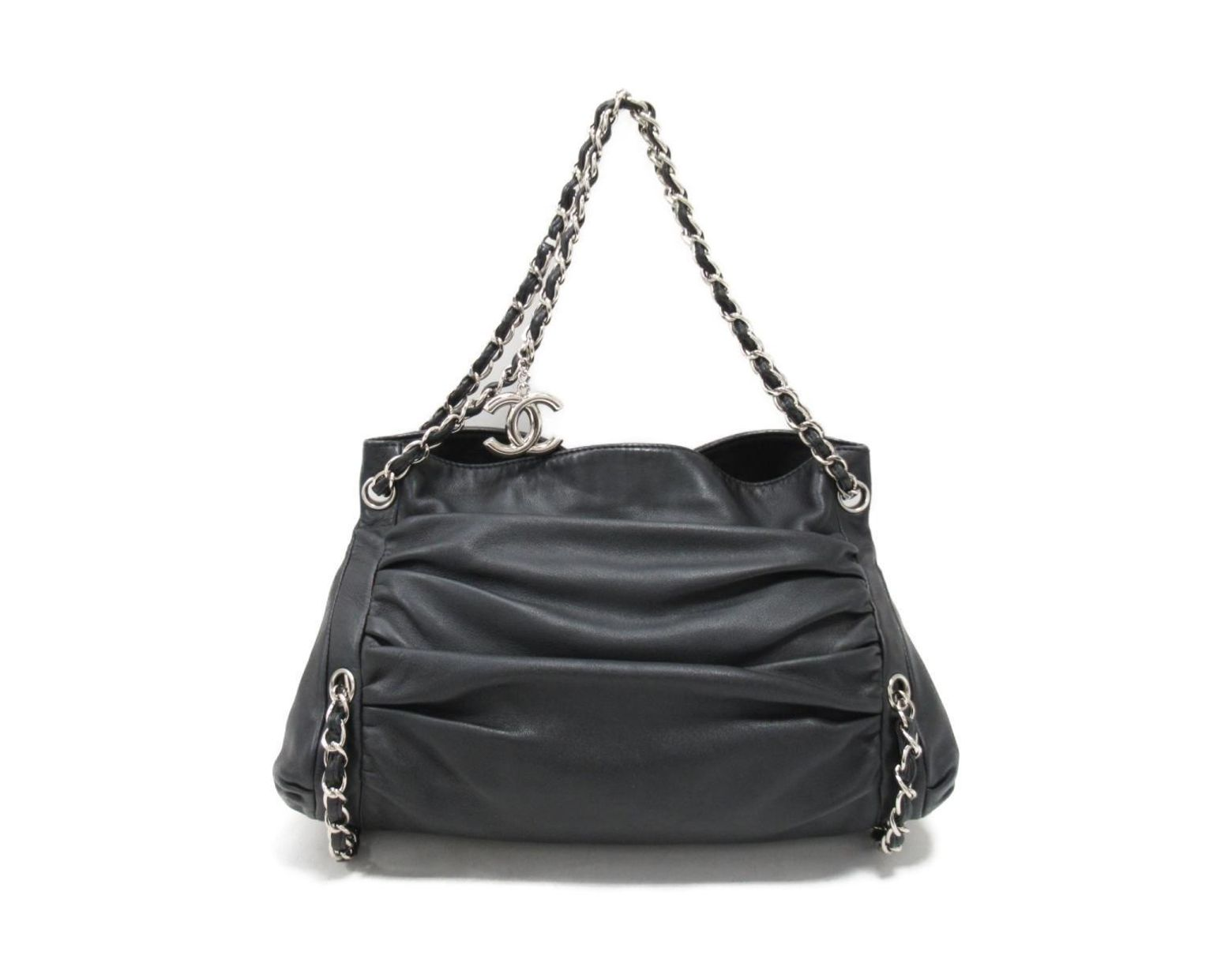 3c046a68b13597 Chanel Auth Luxury Line Chain Shoulder Hand Bag Black Leather Used Vintage  in Black - Lyst
