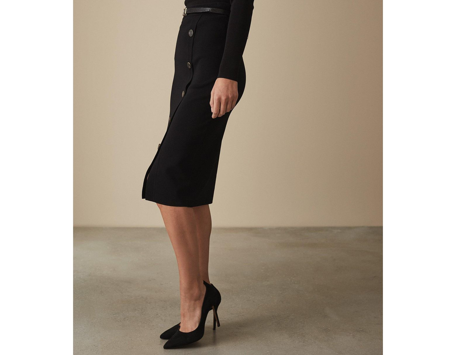 3237680dd7 Reiss Hatty - Button Front Pencil Skirt in Black - Save 8% - Lyst