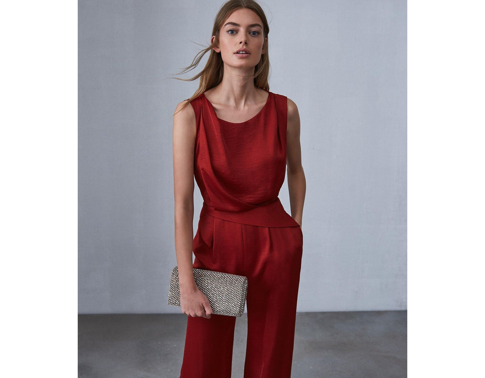 c97329452 Reiss Benita - Low Back Detail Jumpsuit in Red - Save 73% - Lyst
