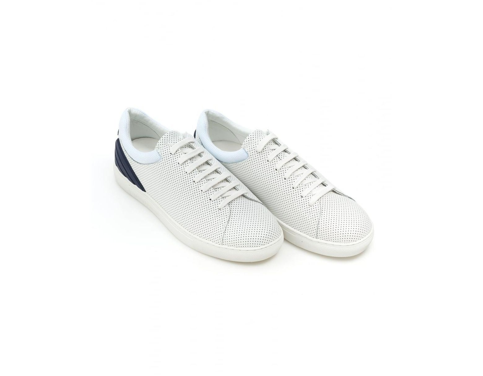 6a72b33e70 Men's Perforated Sneakers, Lace Up White Leather Sneakers