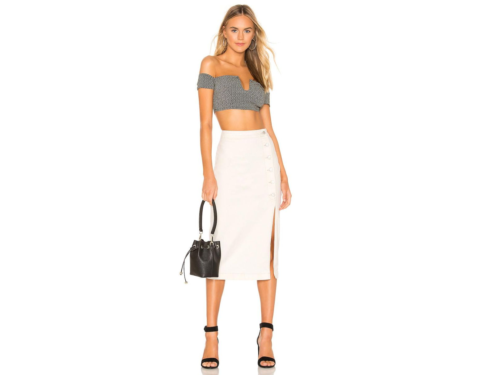 439d14fc8 Free People Jasmine Buttoned Midi Skirt. - Size 0 (also in White - Save 40%  - Lyst