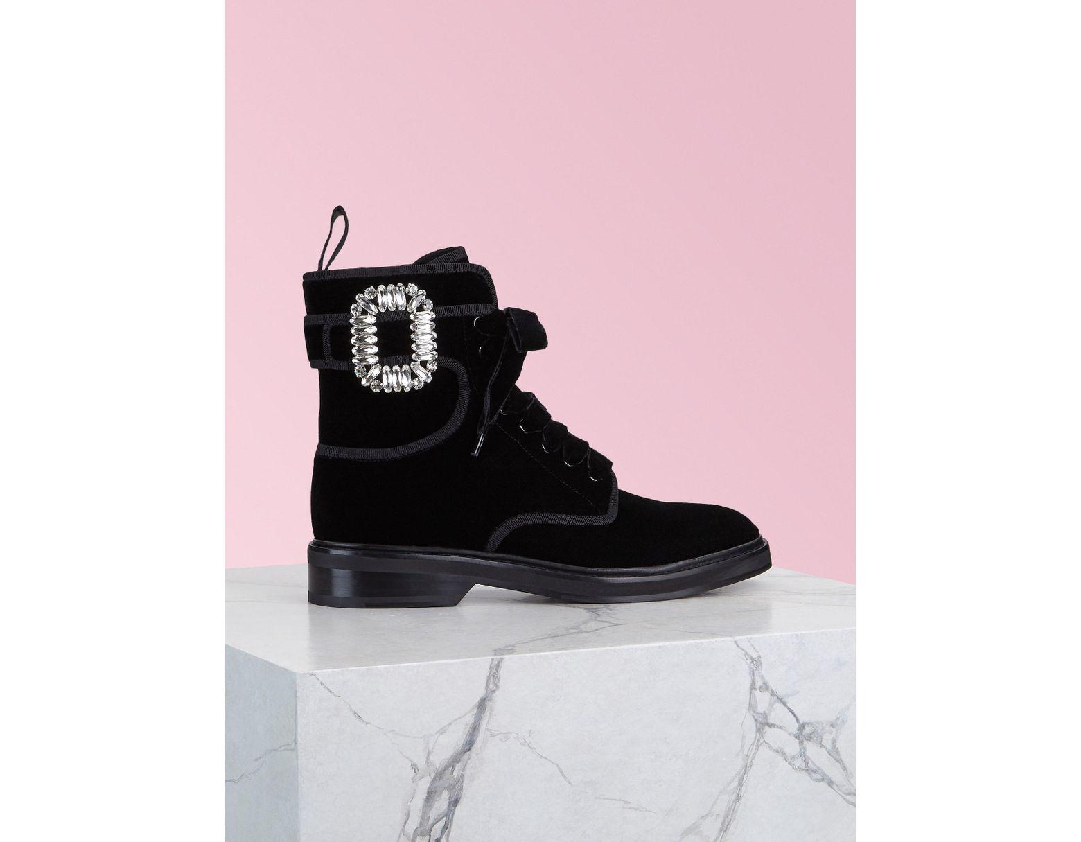 97ea7a33b84 Women's Black Viv' Rangers Strass Buckle Fabric Ankle Boots