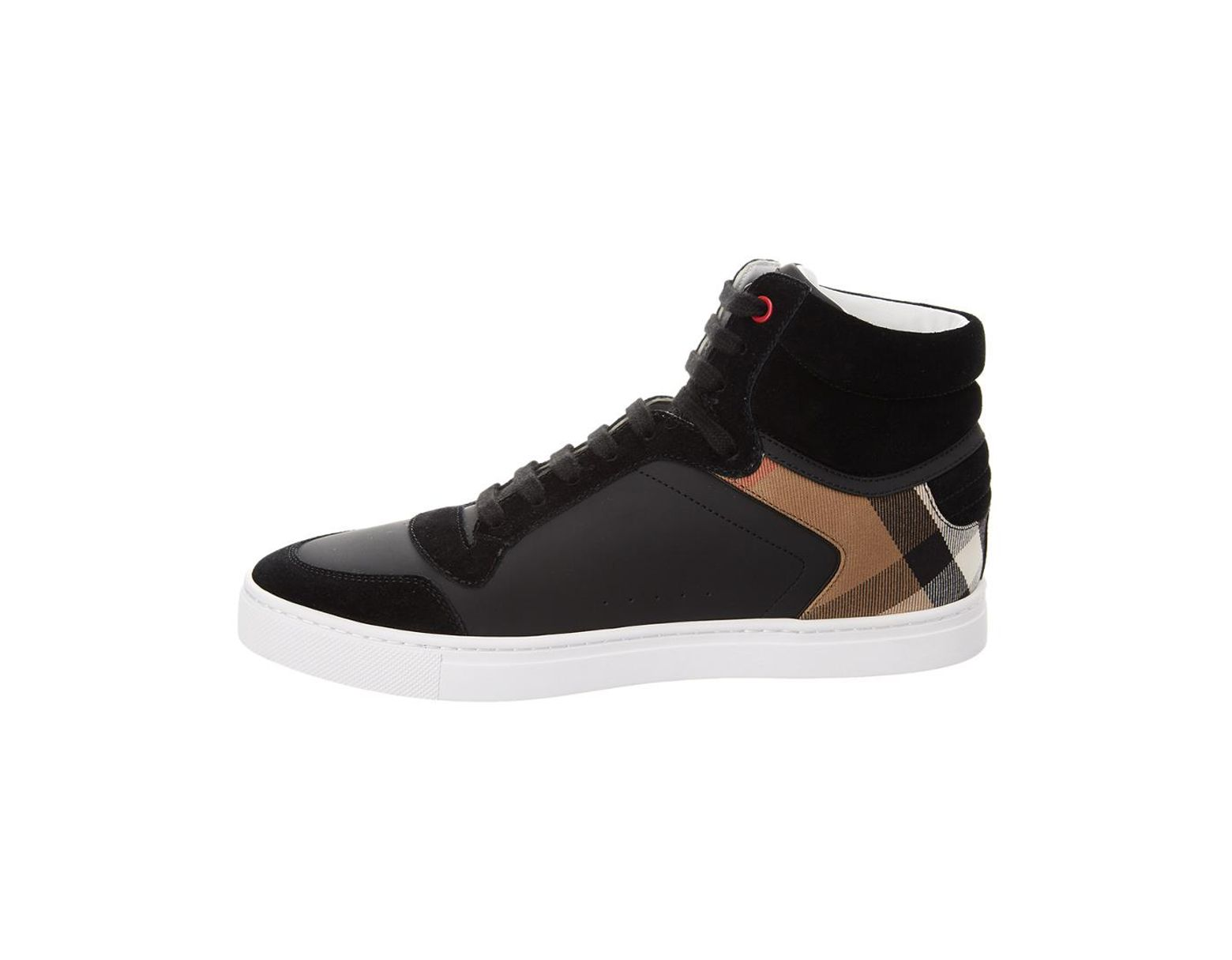 e6869b2ec Burberry Leather High-top Sneakers in Black for Men - Save 39% - Lyst