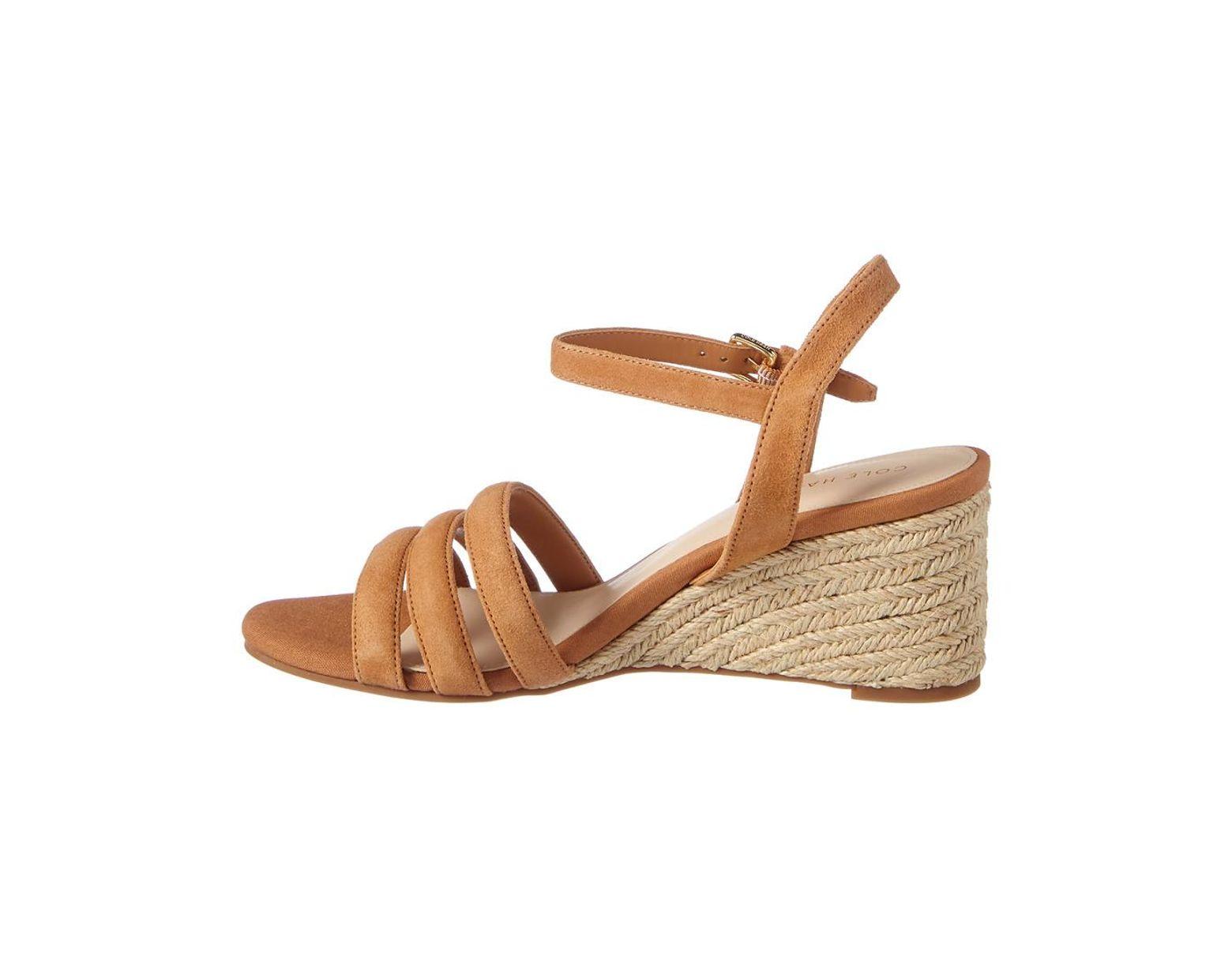 55bf384496b Cole Haan Jasmine Espadrille Leather Wedge Sandal in Brown - Lyst