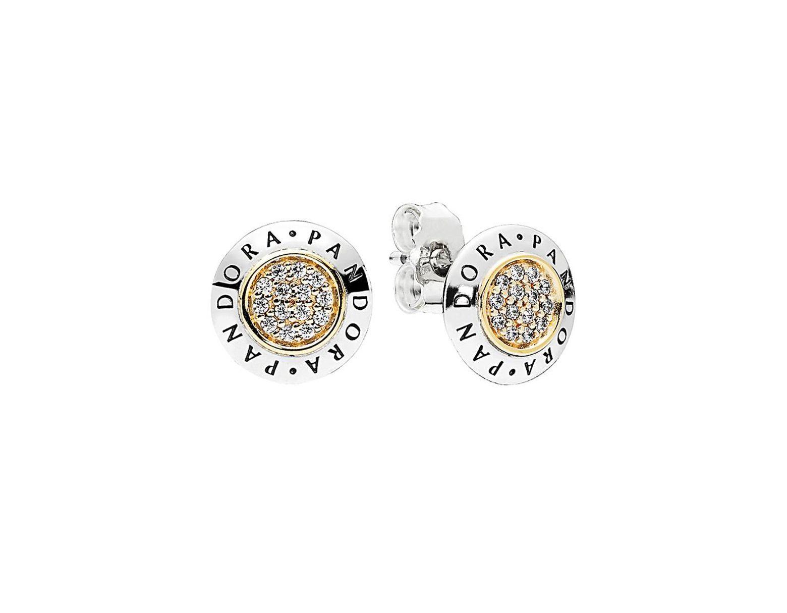 98d39c606 PANDORA Two Tone Cz Signature Stud Earrings in Metallic - Lyst