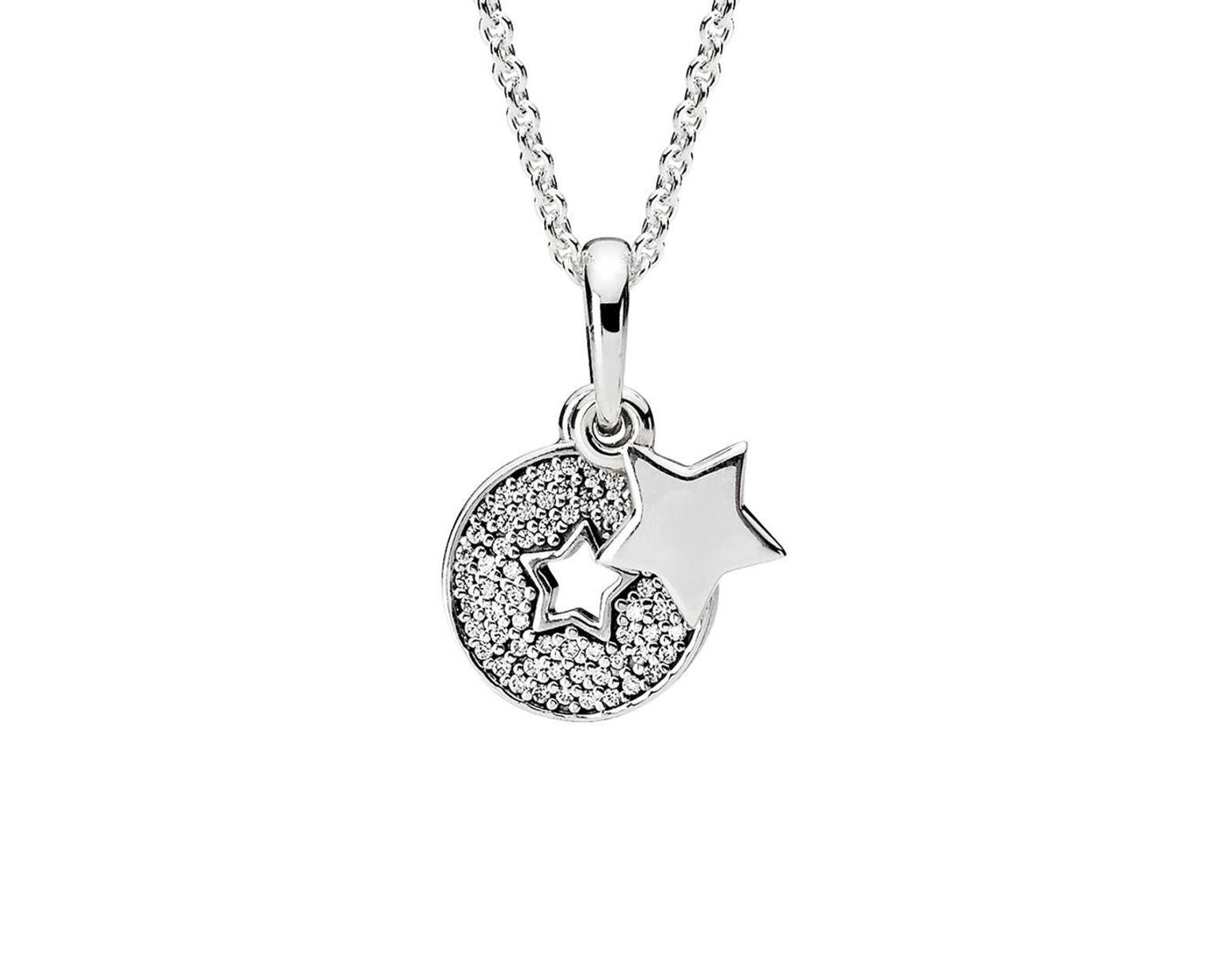 eafaa4afeeb8d Women's Metallic Silver Cz Celebration Stars Necklace