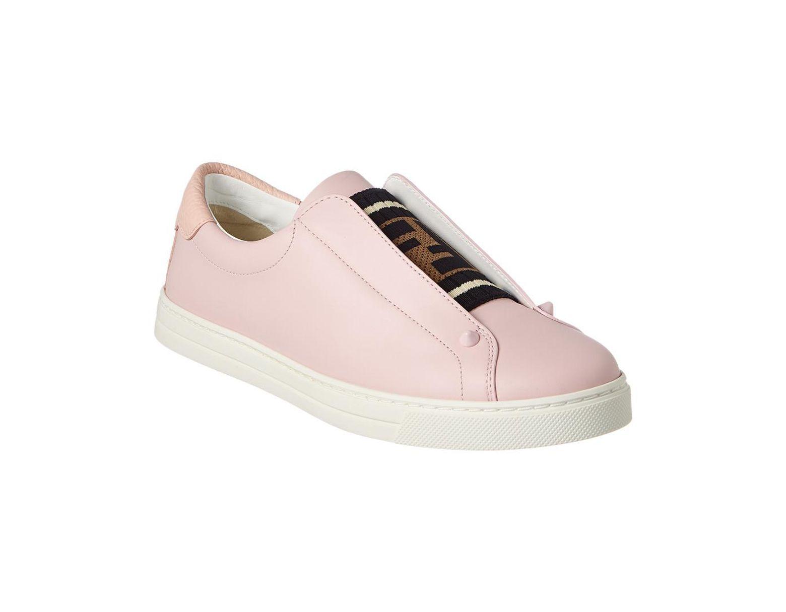 8b34e552 Fendi Slip-on Leather Sneaker in Pink - Save 43% - Lyst