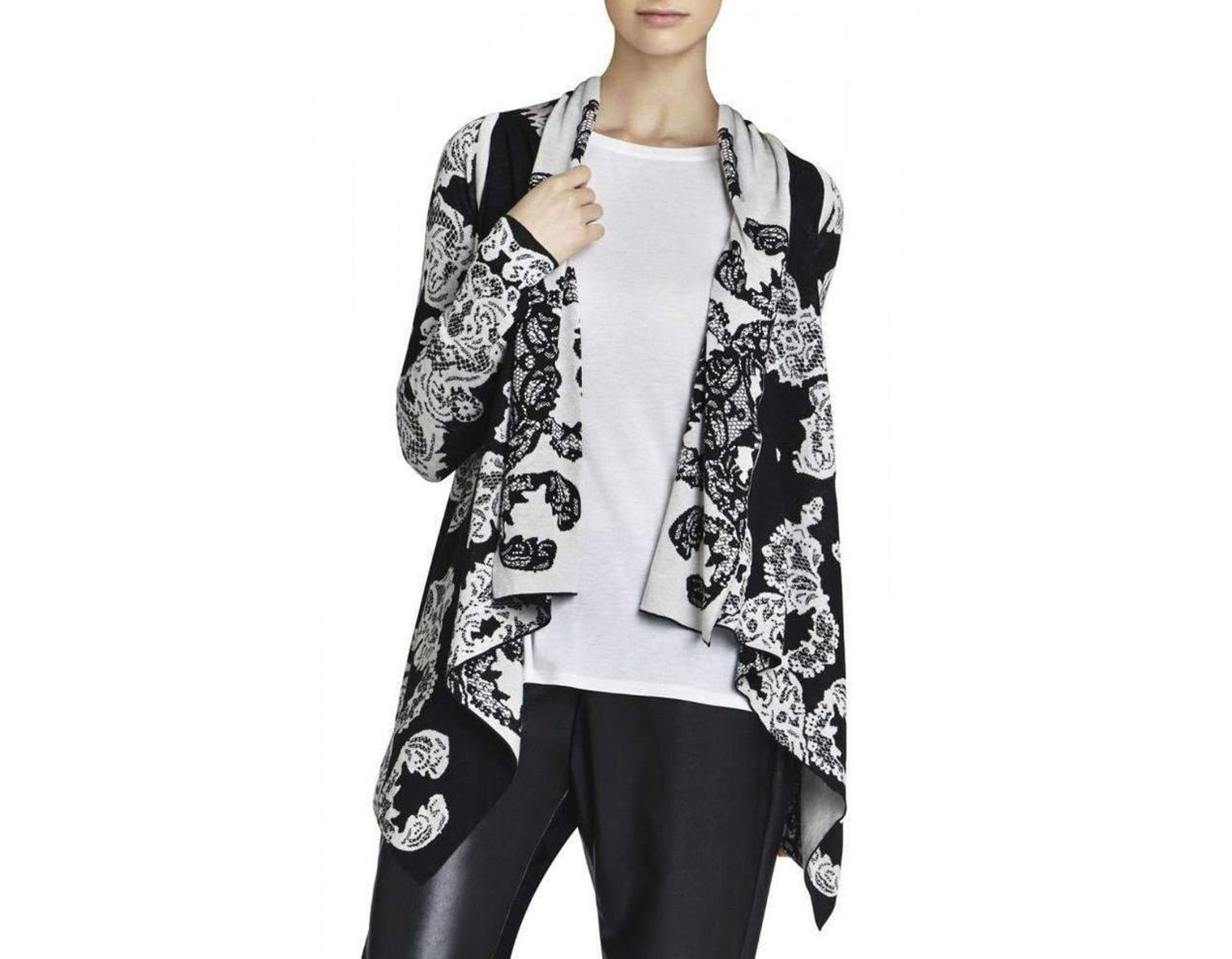 BCBG Max Azria Womens Long Sleeve Sweater Knit Top Ginata Jacquard Cardigan