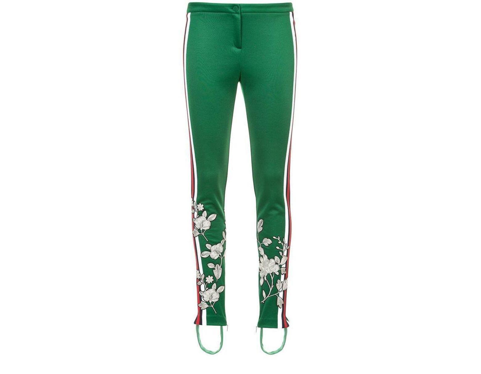 c19187c9 Women's Green Embroidered Jersey Stirrup Leggings