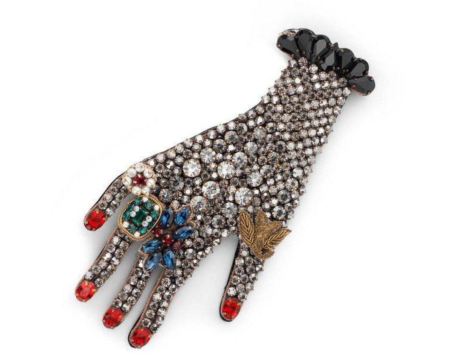 c674107ba17 Lyst - Gucci Black Hand Crystal Embellished Brooch in Black