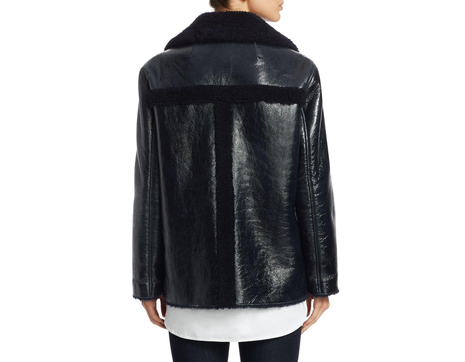 3009b78ec Women's Black Patent Shearling Jacket