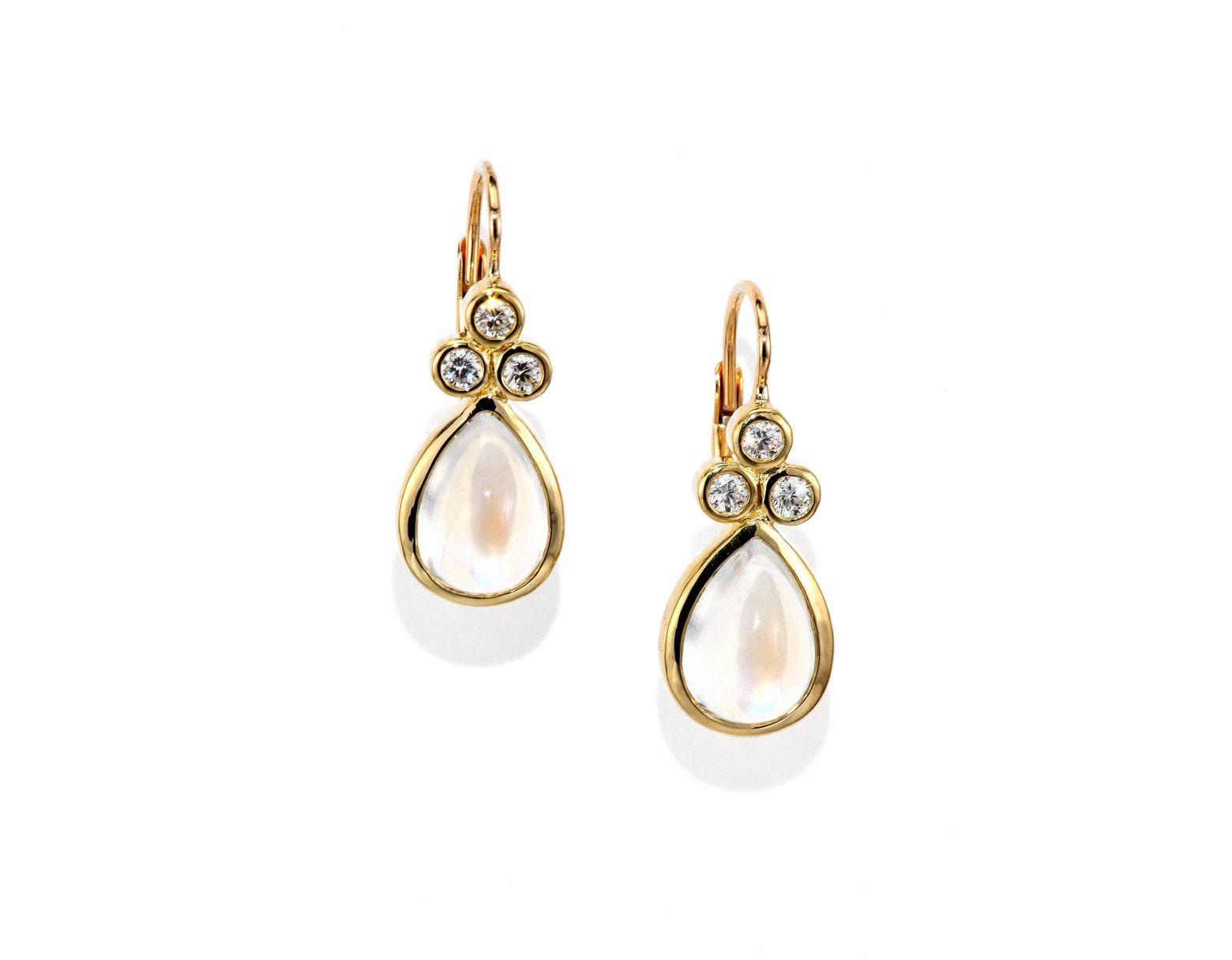 Women's Metallic Royal Blue Moonstone, Diamond & 18k Yellow Gold Teardrop  Earrings
