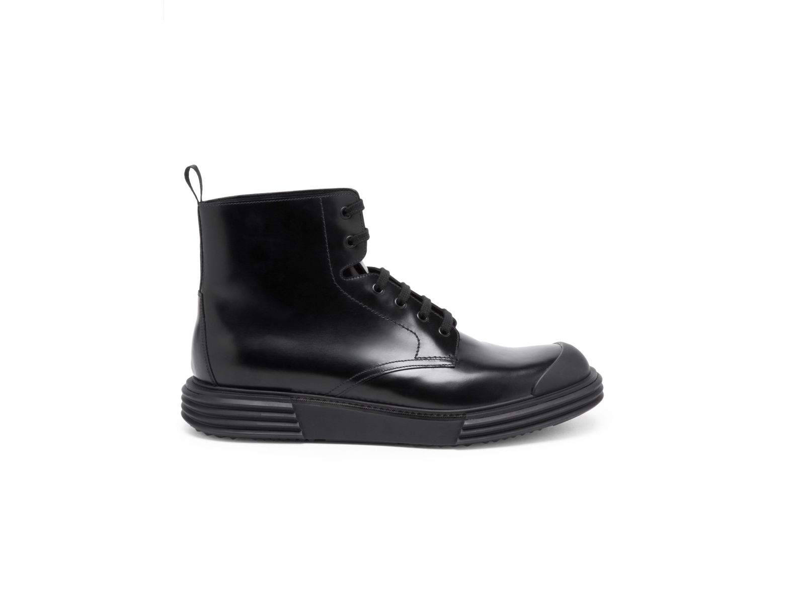 30b756b6 Men's Black Opaque Leather Laced Boots