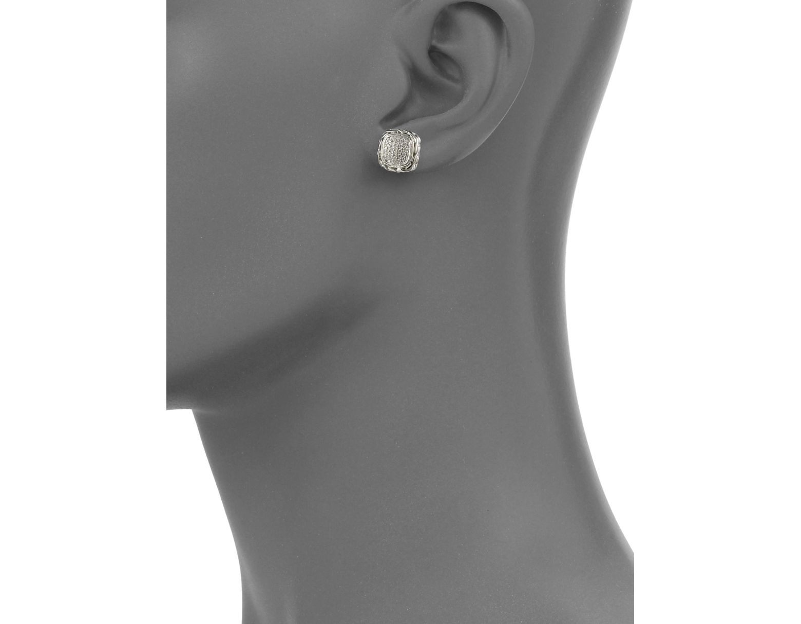 64314dfd24121 Women's Metallic Classic Chain Diamond & Sterling Silver Small Square Stud  Earrings