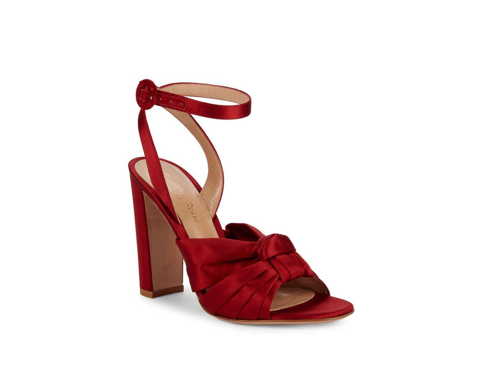 003418c304c Women's Red Satin Knot Block Heel Sandals