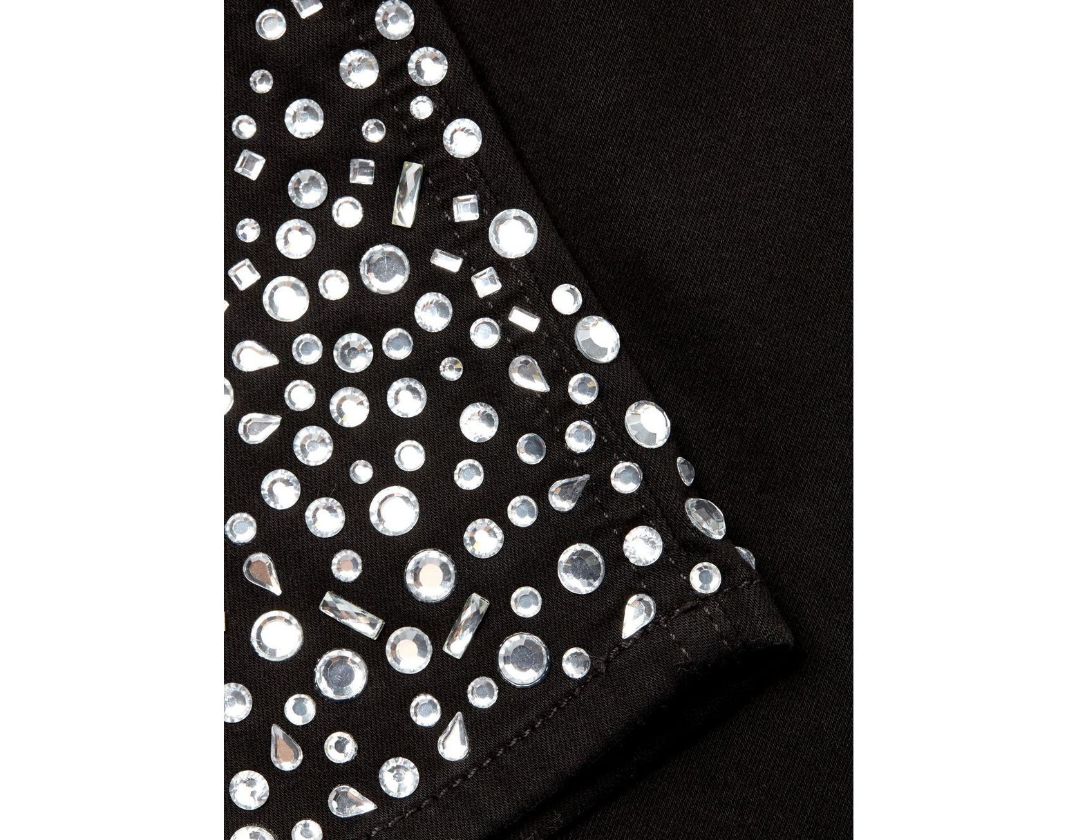 b19b3a53cc7d 7 For All Mankind Rhinestone Embellished Skinny Jeans in Black - Save 28% -  Lyst