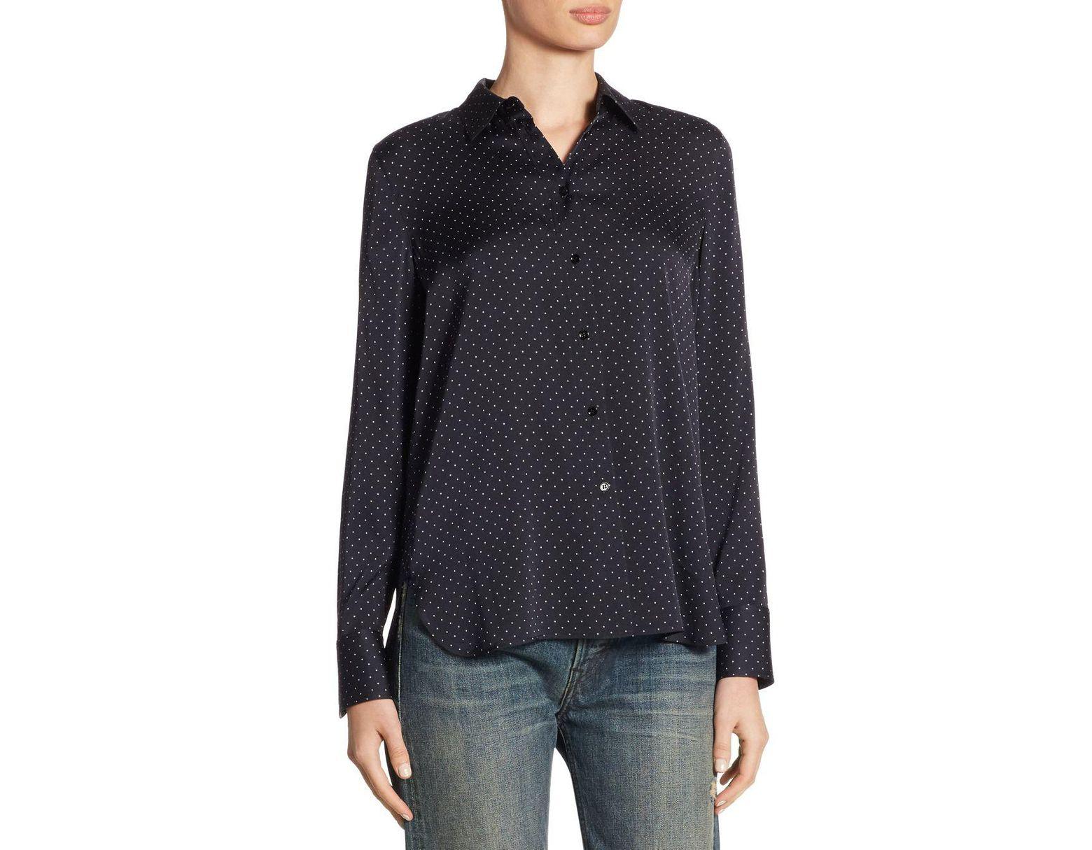 51e26560330f93 Vince Vintage Polka Dot Silk Blouse in Black - Save 9% - Lyst