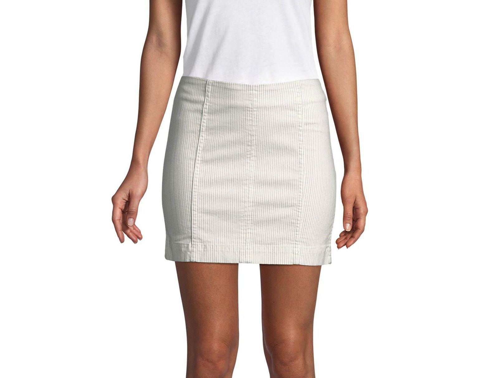 6255a0126 Free People Modern Femme Novelty Stripe Mini Skirt in White - Lyst