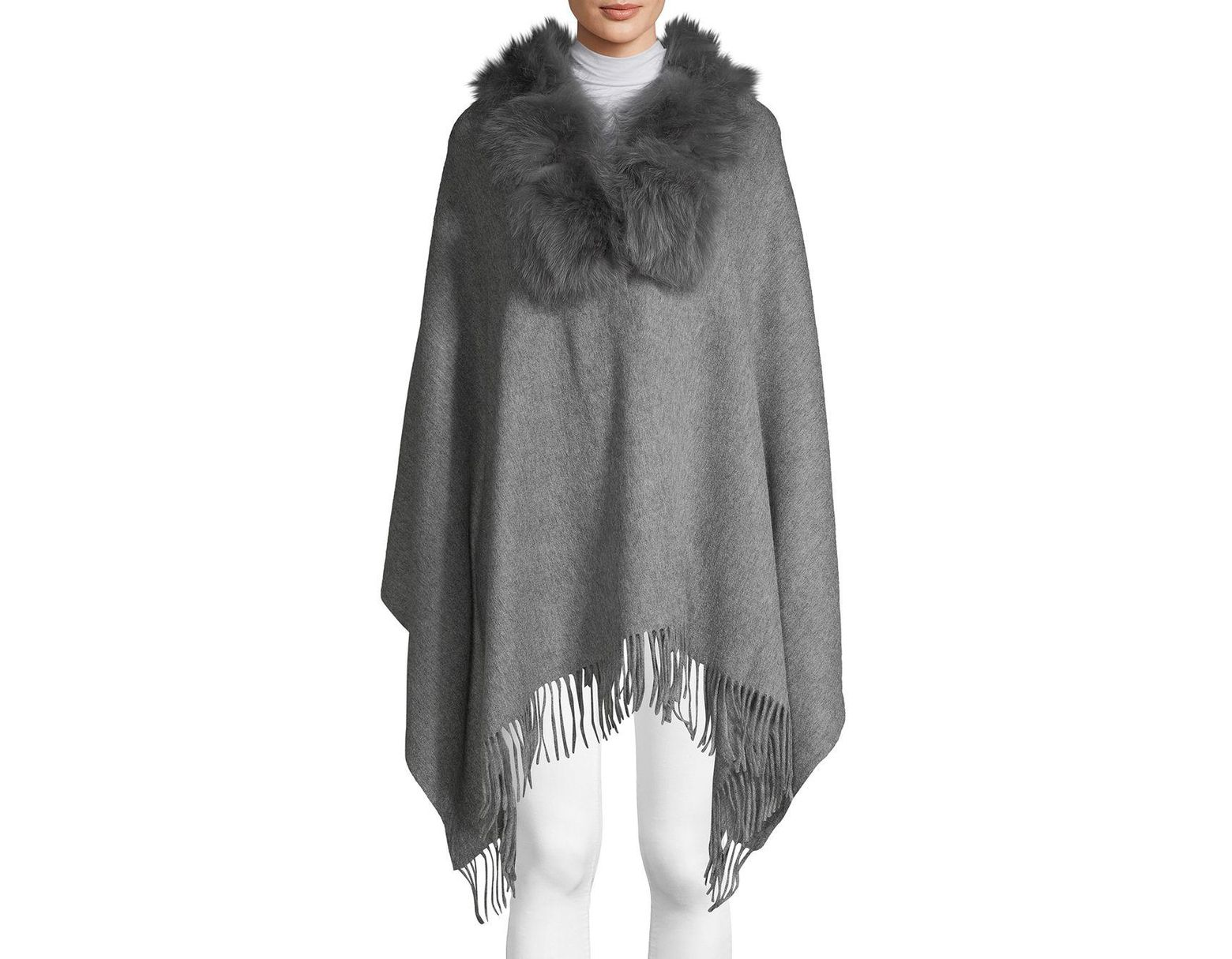 43113f2a7 Belle Fare Dyed Fox & Rabbit Fur Collar, Wool & Cashmere Poncho in Gray -  Lyst