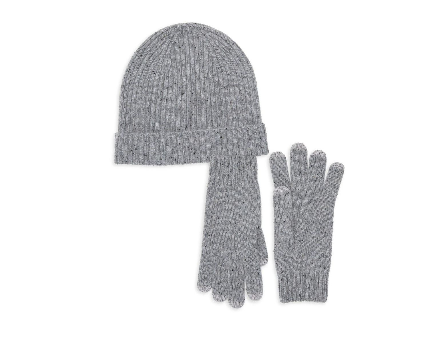7db386302a1071 Qi Cashmere 2-piece Beanie & Gloves Set in Gray - Lyst