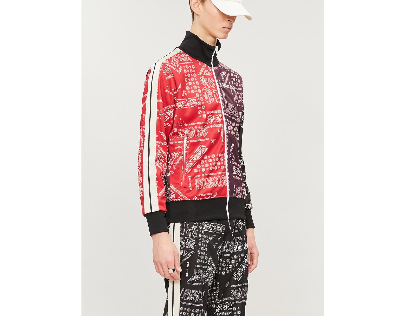 ac3e5ccd56 Men's Red Bandana-print Stretch-jersey Jacket